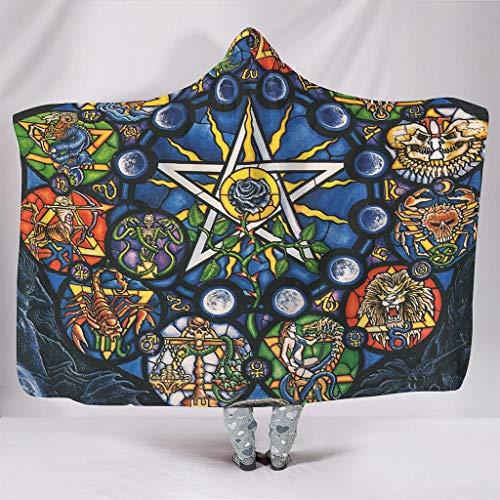 Zacht met capuchon deken sterrenbeeld antieke kunst toveraar alchemist middeleeuwse westerse Astrologie Lunar Widder Tuarus tweelingen kreeft Leo jong weegschaal druk warme winter fleece