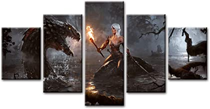 Canvas Poster Modular Prints 5 Pieces Game Modern Painting The Witcher 3 Pictures Home Wall Art Framed for Living Room Decor