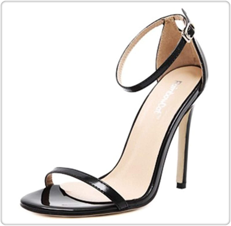 ANGERT& Star fine Cingulate Open-Toed Sandals Women PU Leather Big Size Ultra high Heels