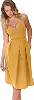 Eliacher Women's Deep V Neck Adjustable Spaghetti Straps Summer Dress Sleeveless Sexy Backless Party Dresses with Pocket