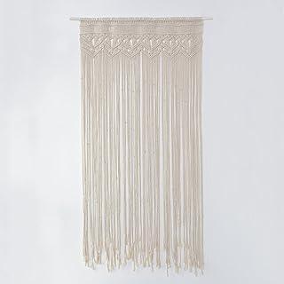comprar comparacion Cortina de macramé de gran tamaño hecha a mano con hilo de algodón, para colgar en la pared, en puertas o como fondo de de...