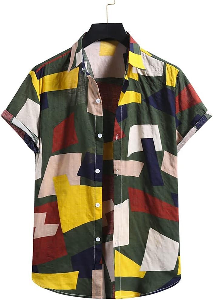 SPNEC Summer Mens Cotton Linen Bombing new work Indefinitely Slee Printing Short Ethnic Shirts