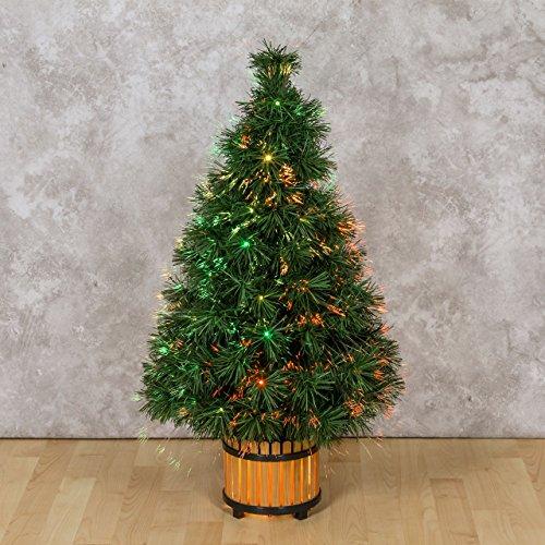 XMASKING Albero Artificiale Verde, Fibre ottiche Multicolor, 60 cm, Lampada 12V 10W, Alberi di Natale Artificiali, Alberi con Fibre ottiche