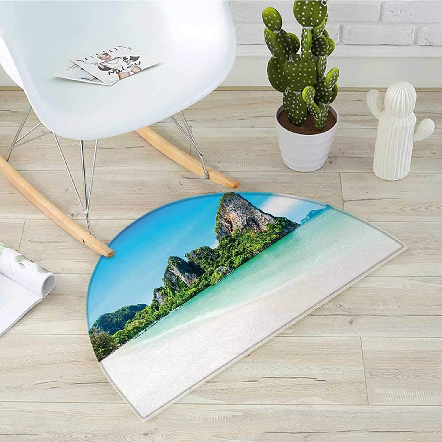 Landscape Half Round Door mats Scenic View of a Beach with Lush Greenery and Limestone Rocks Summer Journey Bathroom Mat H 31.5  xD 47.2  Multicolor