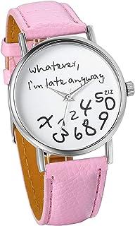 Unisex Female Women Ladies Girls Late Anyway Love Leather Strap Watches Quartz Wrist Watch (Pink)