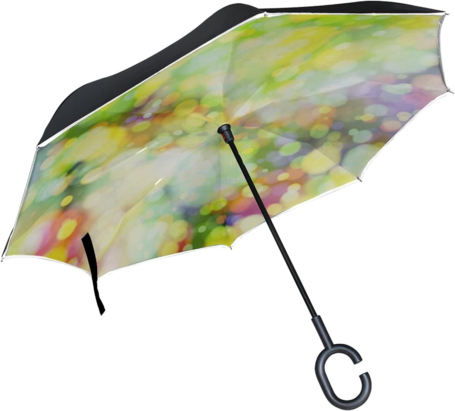 Double Layer Ingreened color Structure Lines Explosion Pop Umbrellas Reverse Folding Umbrella Windproof Uv Predection Big Straight Umbrella for Car Rain Outdoor with CShaped Handle