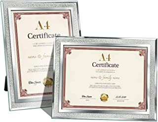 Amazing Roo Certificate Picture Frames A4 Size Mirrored Glass Document Frame, Pack of 2