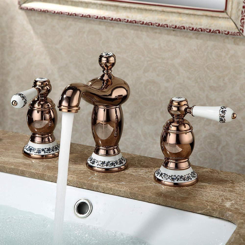 Tintin Traditionell Mittellage Zwei Griffe Drei Lcher in RotGold Waschbecken Wasserhahn