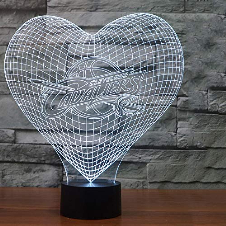 WZYMNYD 3D Led 7 Farbwechsel Nachtlicht Visuelle Herzform Baby Schlafzimmer Schlaf Schreibtischlampe Kind Nacht Liebe Basketball Leuchte Dekor