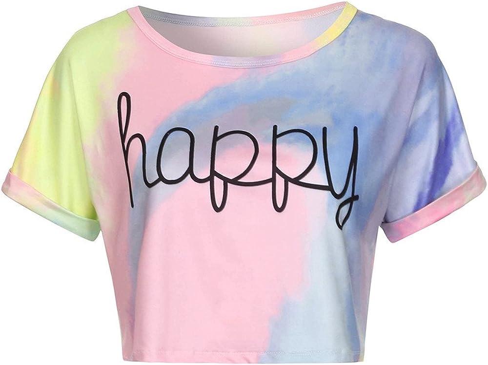 Cheap super special price Tie Dye Crop Tops for Women Cheap super special price Summer Lett Girls Happy Teens Casual