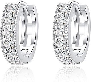 FANCER Women's 925 Sliver 13mm Inlay Zirconia Rhinestones Embellished Hoop Earrings Pair, White Rhinestones