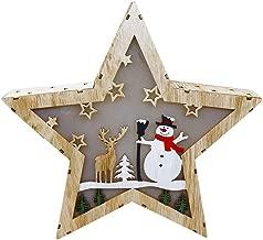 Iusun Tabletop Christmas LED Light Star Snowmen Birthday Present Decoration Bedroom Desk Window Ornament Bonsai for Home Office Supplies Gift