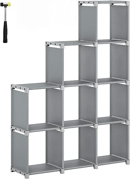SONGMICS 9 Cube DIY 储物架开放式书架衣柜家庭书房收纳架客厅卧室儿童房灰色 ULSN33GY