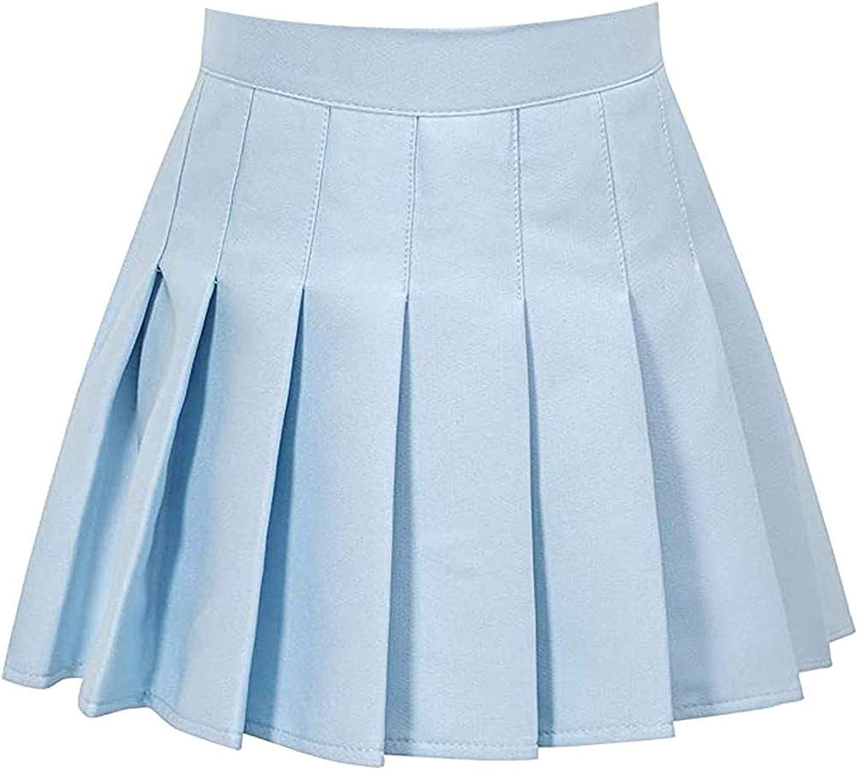 GUGUO Fashion Women's High Waist Pleated Skirt Slim Solid Color Casual Tennis Mini Skirt