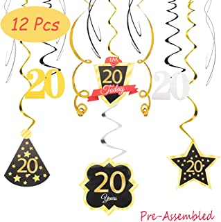 I'm Twenty Years Old Today 20 Birthday Decoration Happy 20th Birthday Party Silver Black Gold Foil Swirl Streamers Birthday Hat Gold Star Ornament Party Present Supplies