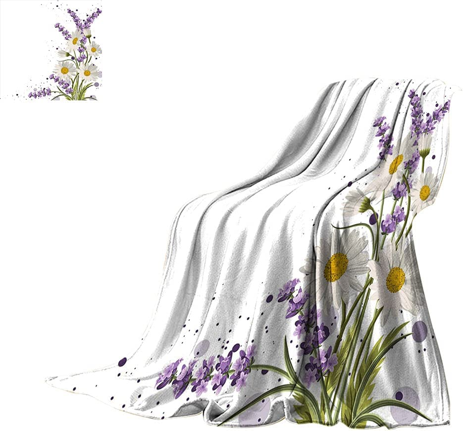 Lavender Throw Manufacturer OFFicial shop Blankets Vivid Bouquet Color San Francisco Mall Daisies with Slashe