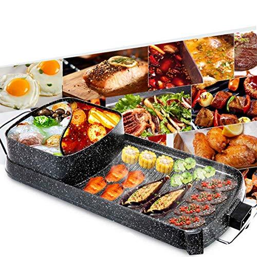 QWEASD Koreaanse Art BBQ Dual Pot 2-in-1 machine, multifunctionele elektrische grill kookpan machine grote ovenschaal voor 4-6 personen