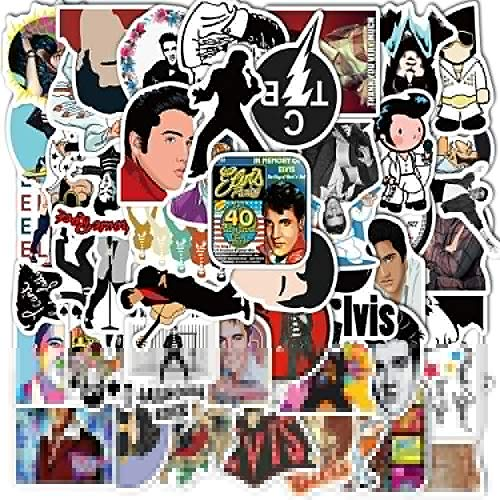 TUHAO Stickers Pvc Waterproof Famous Rock Singer Decal For Diy Guitar Luggage Laptop Skateboard Sticker /50Pcs Elvis Presley 25Pcs