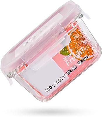 1個 ポータブルランチボックス 弁当箱 平方 ガラス 食料貯蔵庫 カバー付き 密閉する 利用可能なマイクロ波加熱 ピンク