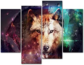 Canvas Print Wall Art Decor Wolf Picture Wild Animal Pictures Colorful 3D Artwork Poster Prints Stretched On Wooden Frame 4 Panel Image for Home Living Room Office Decoration