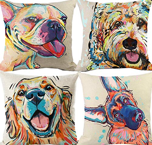Art Cute Dog Throw Pillow Covers, Decorative Bichon Frise Dog Pillow Case for Sofa Couch Cotton Linen Outdoor Patio Home Decoration