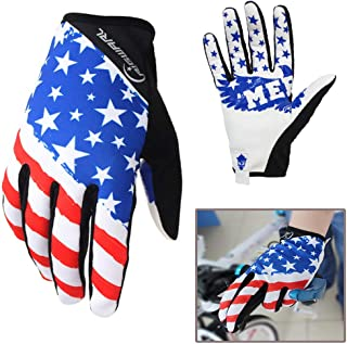 Rigwari Unisex Bicycle Gloves,American Flag Gloves,Off-Road Motorcycles-Anti-Slip Mountain Bike Glove.(White)