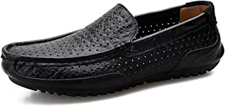 Ranipobo for Men Boat Moccasins Slip On Style OX Leather Low Top Pure Colors Round Toe for Men (Color : Black, Size : 8 UK)
