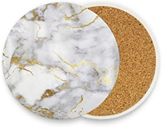 Bhuis Italian Gold Marble Ceramic Coaster Glass Cup Holder Coffee Mug Place Mat for Drinks Pack Of 1
