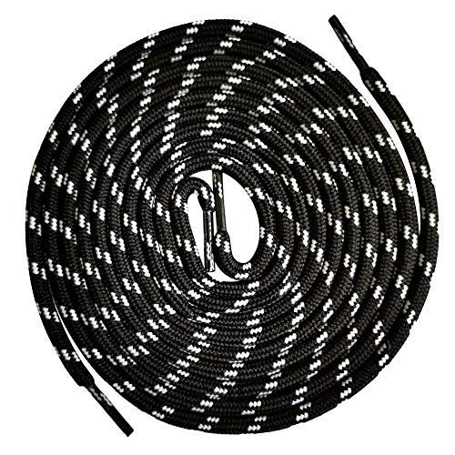 VSUDO 55 Inches Round Shoe Laces for Hiking Boots, 5/32 Inches Shoestring for Outdoor Work Boots or Shoes, Thick Climbing Boots Shoelaces [1 Pair-Black with White Dot-140CM]