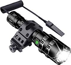Tactical Flashlight JT10 1200 Lumen Matte Black LED WeaponLight with MSD Offset Picatinny Rail Mount, Rechargeable Batteri...
