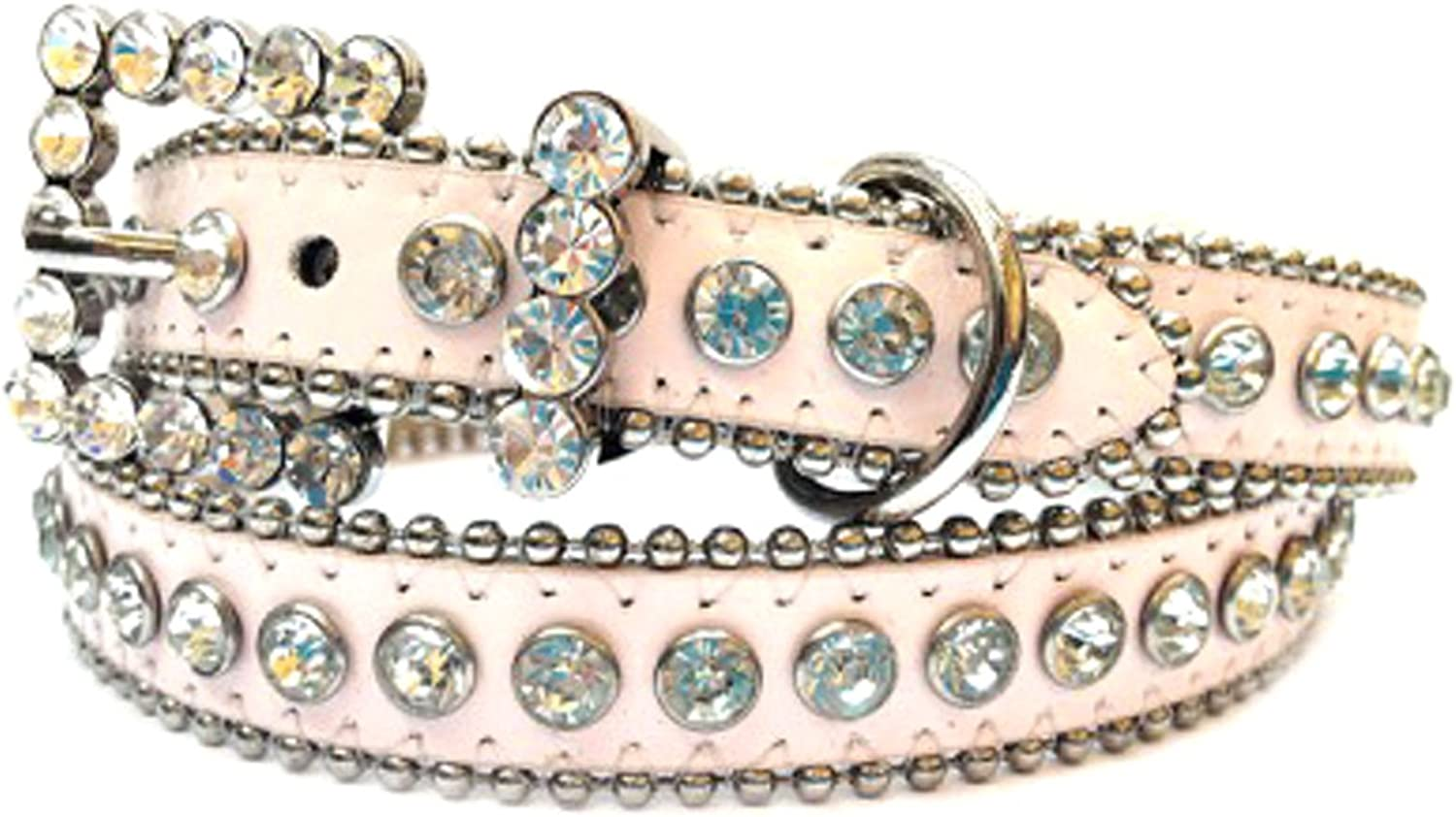 Light Pink Leather Belt, Decorated with High Quality Clear Rhinestones and Rhinestone Belt Buckle, Size M L