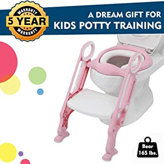 EGREE Potty Training Toilet Seat with Ladder Steps for Kids and Toddler Children's Toilet Training Chair with Soft Padded Seat Non-Slip Wide Step and Safety Handles - Girls Pink and White