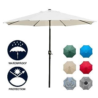 Sunnyglade 9' Patio Umbrella Outdoor Table Umbrella with 8 Sturdy Ribs (Beige)