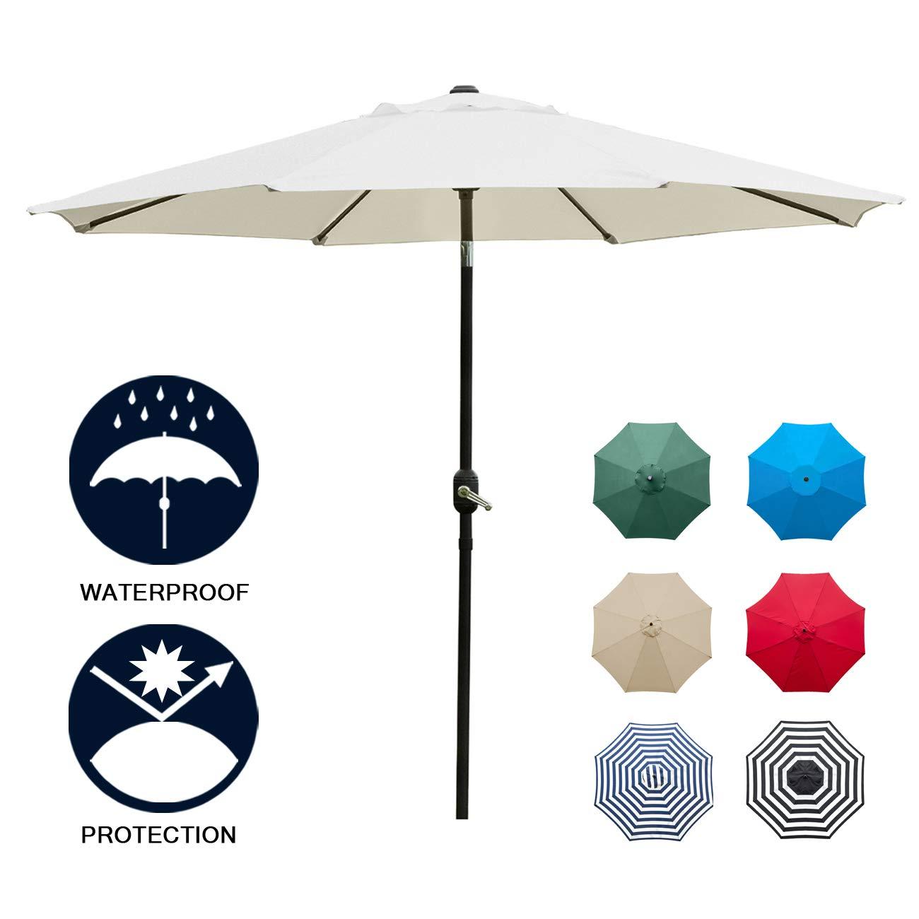 Sunnyglade 9 Patio Umbrella Outdoor Table Umbrella with 8 Sturdy Ribs (Beige)