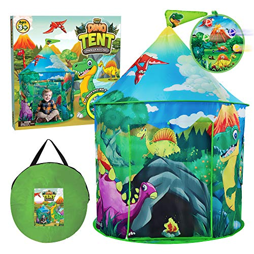 YoYa Toys Dinosaur Play Tent for Toddler Boys & Girls   Foldable Dino Indoor Outdoor Playhouse Fort with Games & Carrying Bag   Adorable Kids Tent Playset Makes a Great Gift Idea