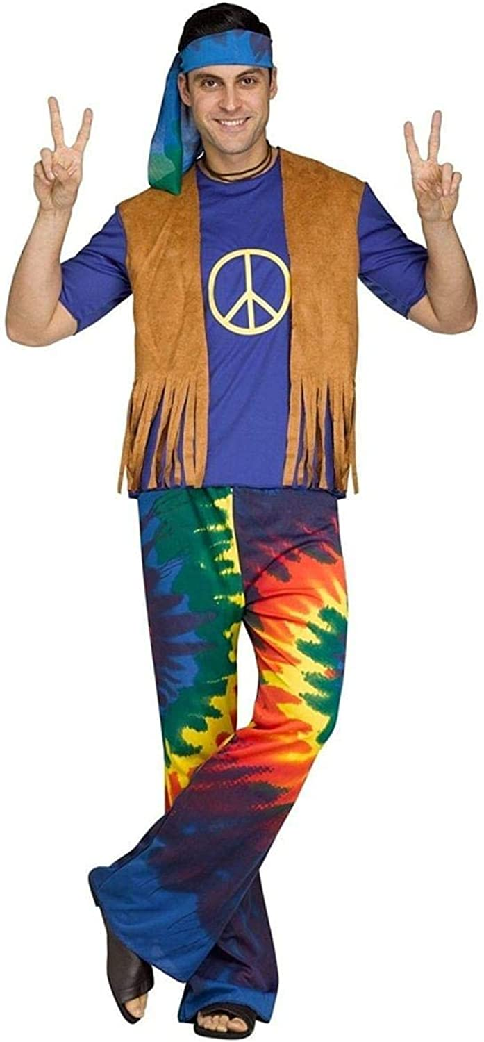 Groovy Hippie Mens Fancy Dress Hippy 1960s 1970s Peace Adults Costume Outfit New Standard Fits Up To 44  Chest