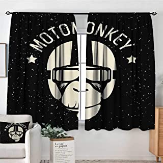 Outer Space Custom Curtains Sign Alien Monkey with Astronaut Costume in a Galaxy with Stars Poster Patterned Drape for Glass Door 72