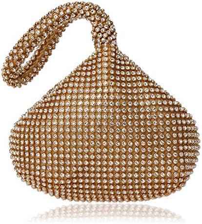 (Golden) - SHANGTOP Women's Evening Clutch Handbag Triangle Full Rhinestones Purse for Party Prom Wedding (Golden)