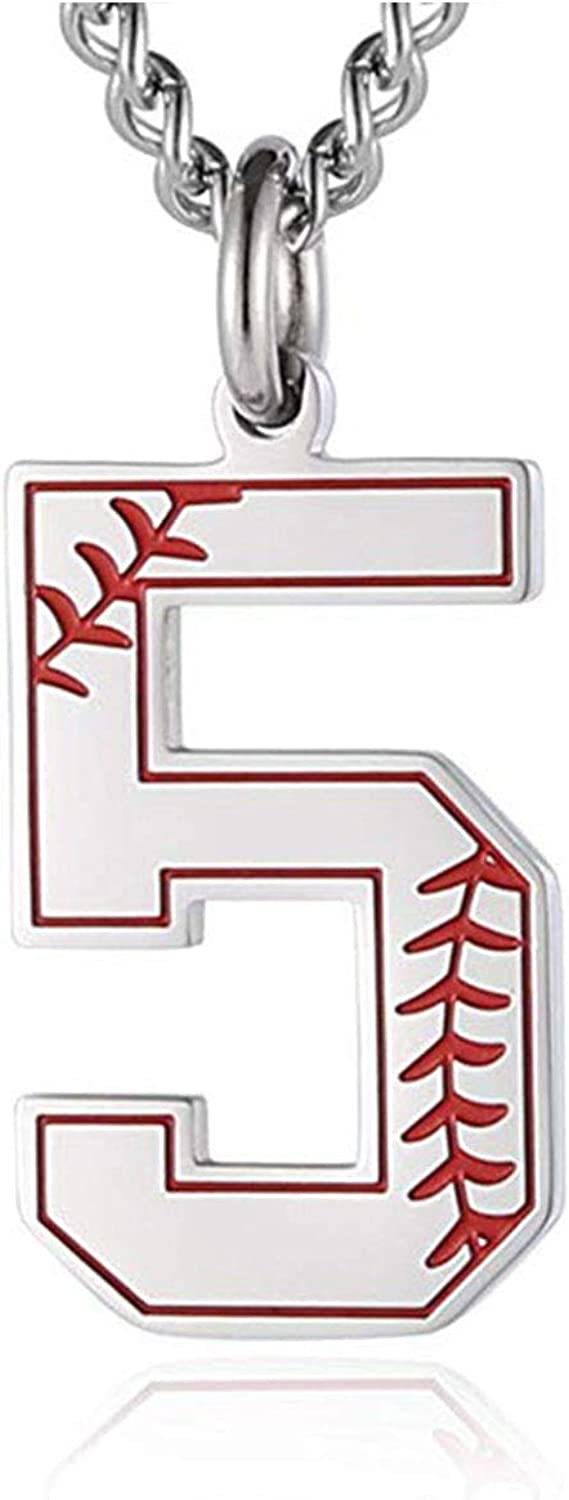 KunBead Boys Sports Lucky Number 5 Pendant Necklaces Baseball Symbol Birthday Necklace for Women