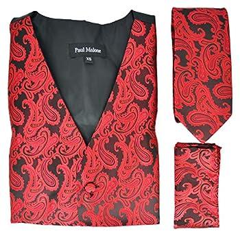 Paul Malone Red and Black Paisley Tuxedo Vest Set