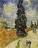 El famoso pintor Van Gogh: la pintura del póster de Cypress Road bajo las estrellas en el lienzo30x40cm