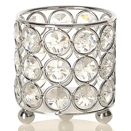 VINCIGANT Kristall Kerzenhalter Teelichthalter Silber Votivkerze Ständer für Party Home Hochzeit Dekoration