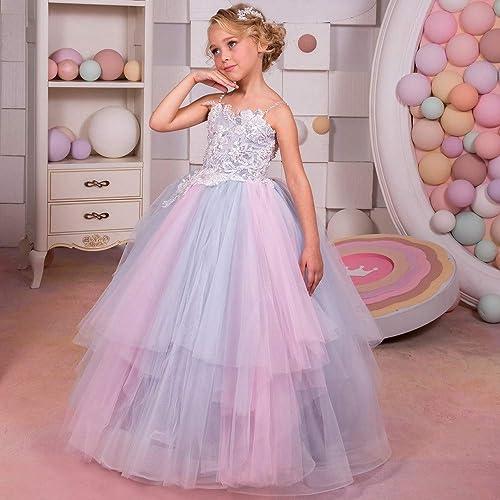 YyZCL-apparel hat Ballet Robe Justaucorps Fille Sling Rainbow Floral Floral Fluffy Girl Robe de mariée en scène Fleur Qi Robe Girl Robe de Danse pour Enfants (Taille   8-9T)