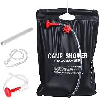 Litthing 5Gallon/20L Campingdusche Solardusche Tasche, Tragbare Solar-Duschtasche, Solar-Duschtasche mit Abnehmbarem Schlauch, Thermometer und EIN- und Ausschaltbarer Duschkopf, für Wandern Reisen