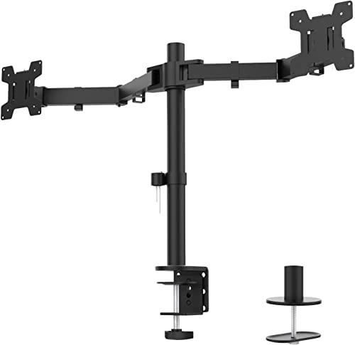 WALI Dual LCD Monitor Fully Adjustable Desk Mount Stand Fits 2 Screens up to 27 inch, 22 lbs. Weight Capacity per Arm (M002), Black product image
