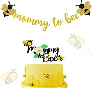 Pack of 2 JeVenis Mommy To Bee Banner Bee Baby Shower Decoration Mommy to bee Cake Topper Mommy to Bee Sign for Bee Themed Baby Shower Decoration Gender Neutral Bee Themed Shower