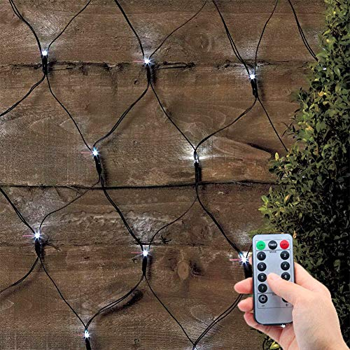 DreiWasser Net Fairy Lights 1.5MX1.5M 100 LEDs Mesh Lights with Dark Green Wire 8 Modes Battery Powered Net String Lights Window Tree Wedding Party Decor with Remote & Timer (Cool White)