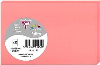 Clairefontaine 1435C - Un paquet de 25 cartes Pollen 8,2x12,8 cm 210g, Litchi