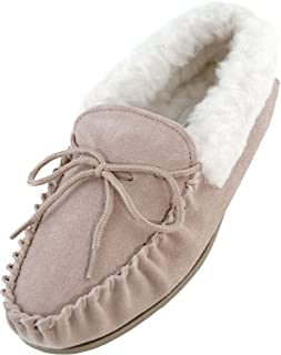 Womens//Mesdames v/éritable Peau de Mouton Pantoufles Mocassin en Daim avec Semelle r/ésistante//Britannique