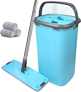 Flat Floor Mop and Bucket Set – Home Floor Cleaning System,Wet Dry Kitchen Cleaner..